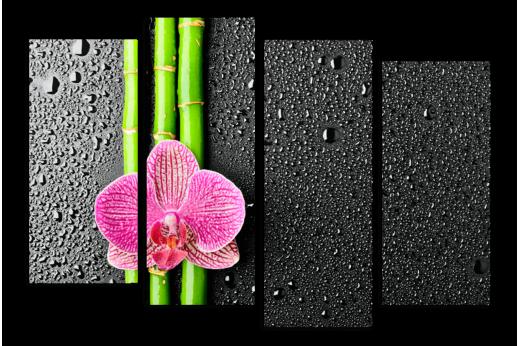 Модульная картина Бамбук на черном фоне